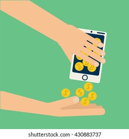 Hands shaking smartphone with bitcoin collecting dollar coins. Vector concept illustration on virtual money, digital wallet, online business,exchange,  mobile  electronic wallet, banking in flat style