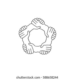 Hands shaking hands in a written in a Pentagon shape, symbol logo for business. Team interaction, a black and white icon