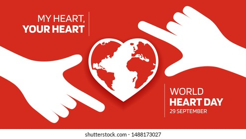 """Hands  Shape Red Heart Over the World Map with Text """"World Heart Day"""" on Red Background. Flat Vector Illustration - Vector."""