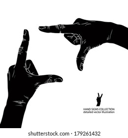 Hands shaped in viewfinder, detailed black and white vector illustration.