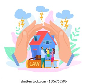 Hands Shield House and People. Clouds, Storm and Lightning. Concept of Security. Law Protection of Family. Mom, Dad and Kid. Civil Law. Lawyer Services Vector EPS 10. Insurance, Mortgage.