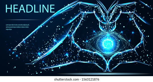 Hands showing heart symbol. Vector low poly wireframe. Digital vision - vector logo template concept illustration. Abstract human eye creative sign. Security technology and surveillance. Mixed media