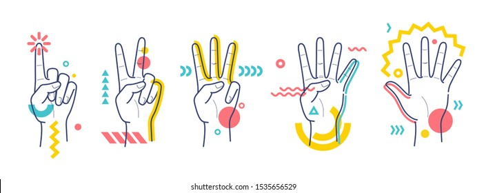 Hands showing numbers one, two, three, four, five. Flat / line style with colorful small geometric particles and dots. Set elements. - Shutterstock ID 1535656529