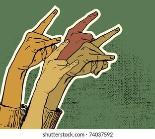 hands up showing rock sign grunge illustration