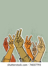 hands up showing victory or peace sign. Vintage style vector illustration.