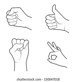 hands signals over white background vector illustration