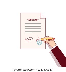 Hands signing business contract paper with stamp with a pen. Writing signature. Flat linear cartoon characters isolated vector illustration