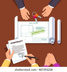 Hands signing house buying or apartment renovation contract. Real estate agent giving key chain and showing approved floor plan. Top view modern flat style vector illustration.