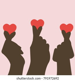 hands silhouette making heart shape with two fingers for i love you sign in korean style,gesture vector illustration