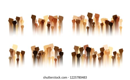 Hands up silhouettes, dividers collection. Decoration element from human raised fists. Conceptual illustration for festivals,  social and tolerance public communities, education or volunteering.