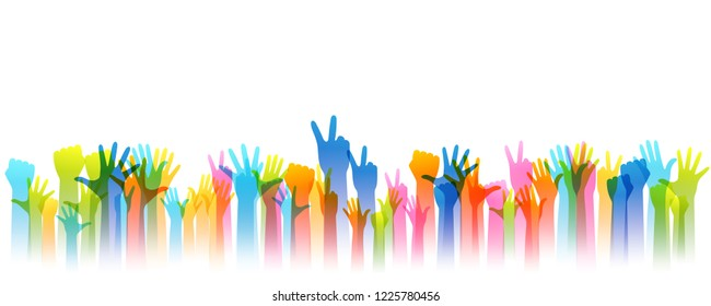 Hands up silhouettes, horizontal border. Decoration element from rainbow raised hands. Conceptual illustration for festivals, concerts, social and tolerance public communities or volunteering.