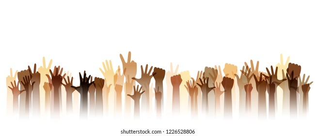 Hands up silhouettes, horizontal border. Decoration element from human raised hands. Conceptual illustration for  concerts, social and tolerance public communities, education or volunteering.