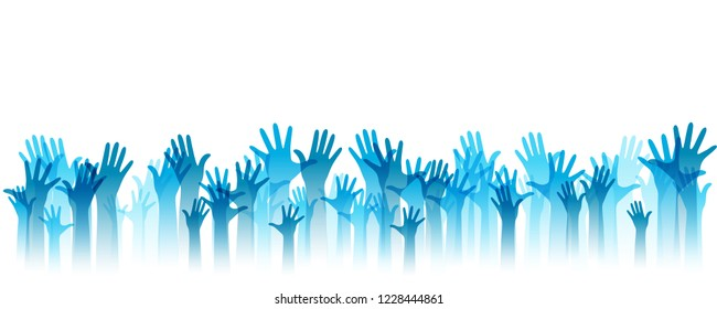 Hands up silhouettes, horizontal border. Decoration element from blue raised hands. Conceptual illustration for festivals, concerts, social public communities, education or volunteering.