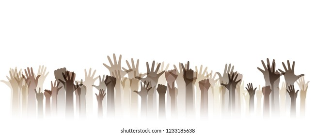 Hands up silhouettes, horizontal border. Decoration element from human raised hands. Conceptual illustration for festivals, social and tolerance public communities, education or volunteering.
