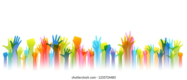 Hands up silhouettes, horizontal border. Decoration element from rainbow raised hands. Conceptual illustration for festivals, concerts, social and tolerance public communities, volunteering.