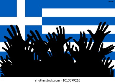 Hands up silhouettes on a Greece flag. Crowd of fans of soccer, games, cheerful people at a party. Vector banner, card, poster.