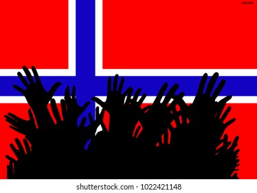 Hands up silhouettes on a Norway flag. Crowd of fans of soccer, games, cheerful people at a party. Banner, card, poster.