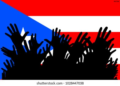 Hands up silhouettes on a Puerto Rico flag.