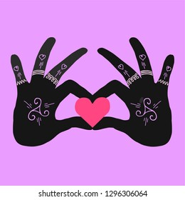Hands of Sisterhood sign and logo with heart