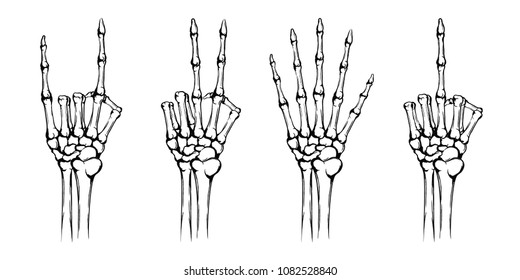 Hands of the skeleton with different gestures. Rock and peace symbol, fuck you, symbol. Hand drawn human hands with bones isolated on white background. Vintage grunge technique. Vector