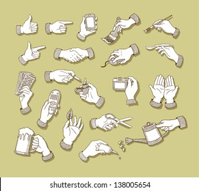 Hands Sketch 1. Hand signs and activity, holding tool drawing vector, Easy to use because each object is a group.