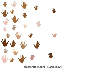 Hands with skin color diversity vector illustration. Cohesion concept icons, social, national and racial issues symbols. Helping hand prints, human palms. Volunteering, cooperation, teamwork concept