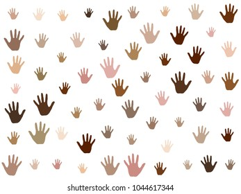 Hands with skin color diversity vector background. Cohesion concept icons, social, national and racial issues symbols. Helping hand prints, human palms. Volunteering, cooperation, teamwork concept