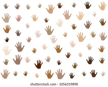Hands with skin color diversity vector graphic design. Cohesion concept icons, social, national and racial issues symbols. Helping hand prints, human palms - charity, assistance, volunteering concept.