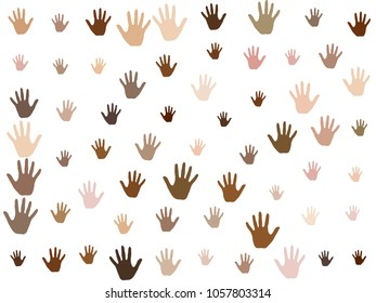 Hands with skin color diversity vector graphic design. Cohesion concept icons, social, national and racial issues symbols. Hand prints, human palms - friendship, solidarity, support, teamwork concept.
