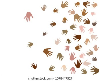 Hands with skin color diversity vector illustration. Cohesion concept icons, social, national and racial issues symbols. Helping hand prints, human palms - working together,  partnership concept.