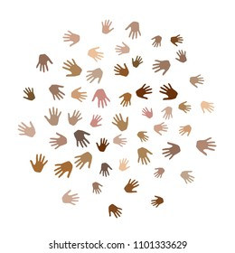 Hands with skin color diversity vector graphic design. Cohesion concept icons, social, national and racial issues symbols. Helping hand prints, human palms - working together, collaboration concept.