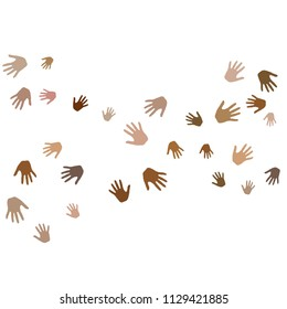 Hands with skin color diversity vector illustration. Cohesion concept icons, social, national and racial issues symbols. Helping hand prints, human palms - volunteering, support, teamwork concept.