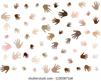 Hands with skin color diversity vector background. Cohesion concept icons, social, national and racial issues symbols. Helping hand prints, human palms - working together,  partnership concept.