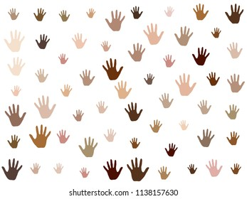 Hands with skin color diversity vector graphic design. Cohesion concept icons, social, national and racial issues symbols. Helping hand prints, human palms - working together,  partnership concept.