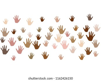 Hands with skin color diversity vector graphic design. Cohesion concept icons, social, national and racial issues symbols. Helping hand prints, human palms - friendship, support, teamwork concept.