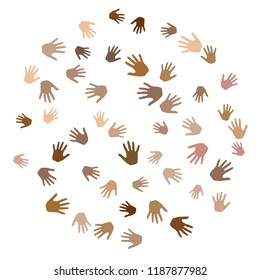 Hands with skin color diversity vector background. Solidarity concept icons, social, national, racial issues symbols. Helping hand prints, human palms - working together, collaboration concept.