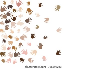 Hands with skin color diversity vector background. Cohesion concept icons, social, national and racial issues symbols. Hand prints, human palms - friendship, solidarity, support, teamwork concept.