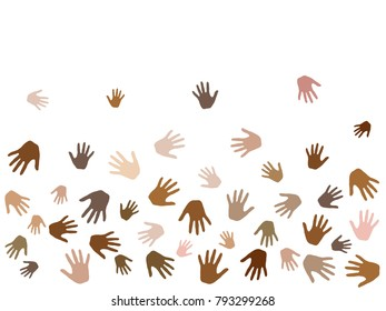 Hands with skin color diversity vector illustration. Community concept icons, social, national, racial issues symbols. Helping hand prints, human palms - friendship, support, teamwork concept.