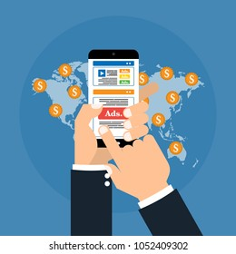 Hands with smart mobile phone has digital advertising ads social media online marketing on world map with coins money. Vector illustration social ads digital marketing concept.