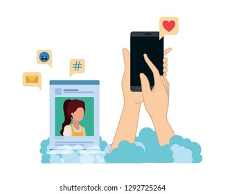 hands with smarthphone and social network profile avatar character