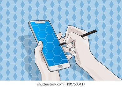 Hands with a smartphone