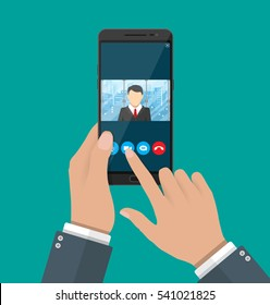 Hands with smartphone. Director communicates with staff . Online meeting, video call, webinar or training. Vector illustration in flat style.