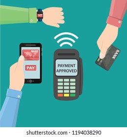 Hands with smartphone, smartwatch and bank card near POS terminal. Wireless, contactless or cashless payments, rfid nfc. Vector illustration in flat style.