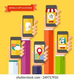 Hands with smartphones. Mobile applications concept. Flat design vector illustration