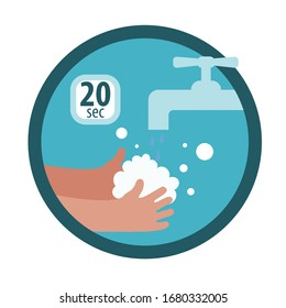 Hands with soap under the faucet. Wash your hands thoroughly with soap for at least 20 seconds. Cartoon flat icon or sticker for infographic. Isolated on a white background.