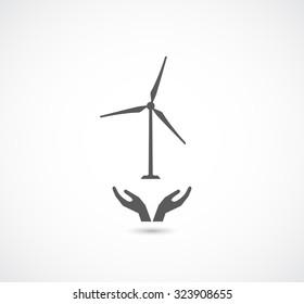 hands support wind turbine black logo icon