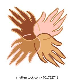 Hands symbol with different skin colours showing unity
