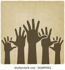 hands up symbol old background - vector illustration. eps 10