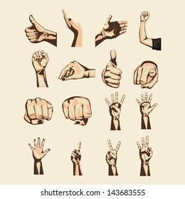 hands symbols over pink background vector illustration