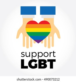 Hands taking heart. LGBT support symbol with lettering in rainbow colors. Icons, logo template. Modern flat vector illustration stylish design element